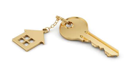 Foto de 3d render of golden home key isolated on white background. Estate concept  - Imagen libre de derechos
