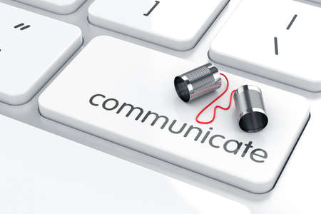 Foto per 3d render of can phone on the keyboard. Communication concept - Immagine Royalty Free
