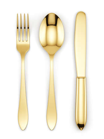 Photo for 3d render of golden fork, spoon and knife isolated on white background - Royalty Free Image
