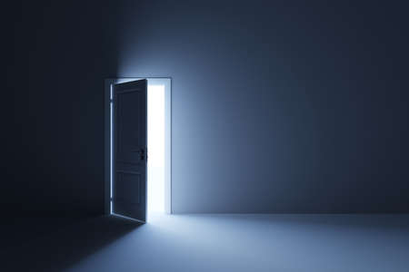 Photo pour 3d render of light in empty room through the opened door - image libre de droit