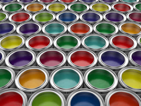 Photo for 3d illustration of colorful paint cans set - Royalty Free Image