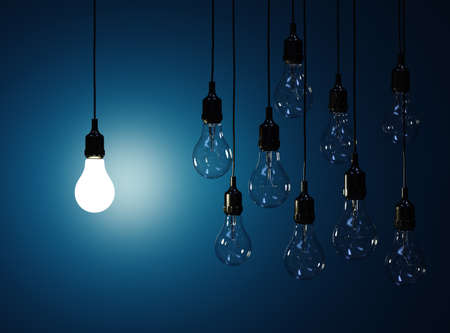 Photo pour 3d render  of hanging light bulbs with glowing one isolated on dark blue background - image libre de droit