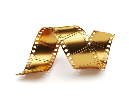 Photo for 3d rendering of golden film strip isolated on white background. Entertainment concept - Royalty Free Image