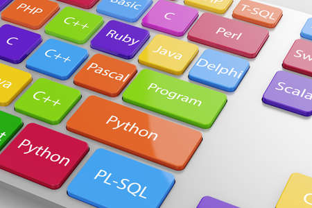 Photo for Different machine code languages programming button on the computer keyboard. 3d illustration - Royalty Free Image
