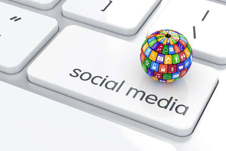 Photo pour Software, social media concept. Colorful icon buttons sphere on the computer keyboard - image libre de droit