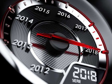 Foto de 3d illustration of 2018 year car speedometer. Countdown concept - Imagen libre de derechos