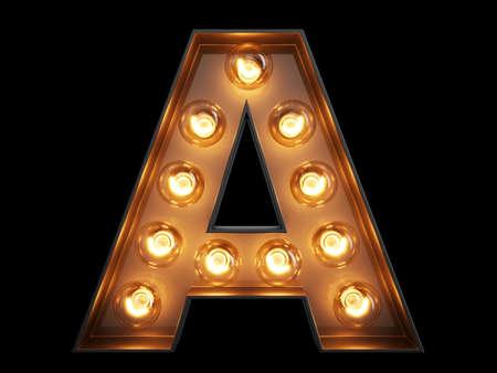 Photo pour Light bulb glowing letter alphabet character A font. Front view illuminated capital symbol on black background. 3d rendering illustration - image libre de droit