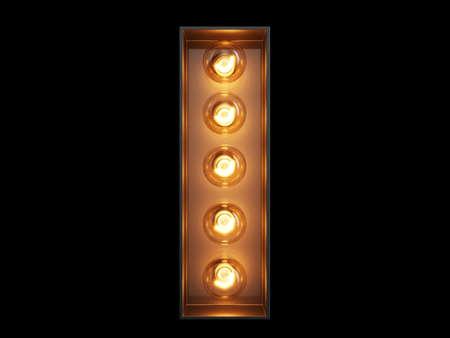 Photo pour Light bulb glowing letter alphabet character I font. Front view illuminated capital symbol on black background. 3d rendering illustration - image libre de droit