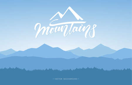 Illustration pour Mountains landscape background with handwritten lettering. - image libre de droit