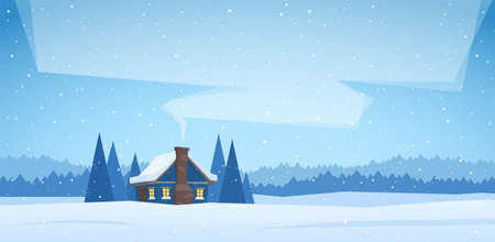 Illustration pour Winter christmas landscape with cartoon house and smoke from the chimney. - image libre de droit