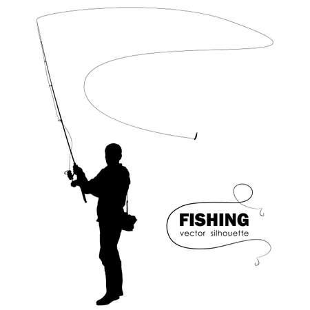 Ilustración de Isolated silhouette of fisherman. - Imagen libre de derechos