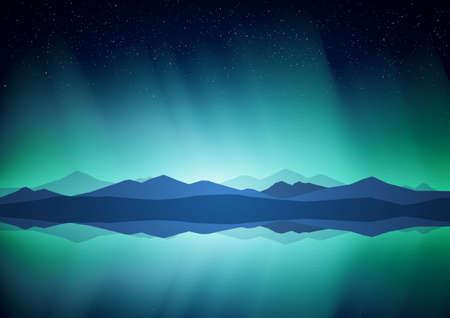 Ilustración de Northern landscape with Aurora, lake and mountains on the horizon. - Imagen libre de derechos