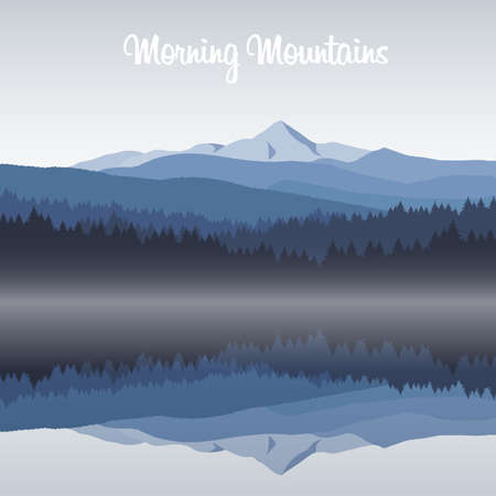 Illustration for Vector illustration: Morning on the mountains lake. - Royalty Free Image