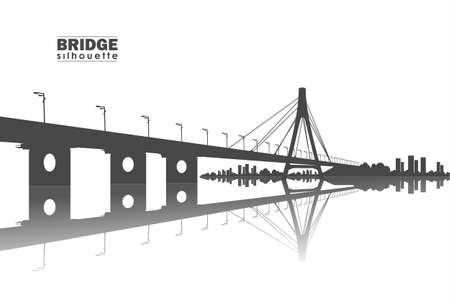 Illustration pour Vector illustration: Silhouette of Bridge with city - image libre de droit