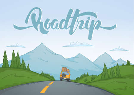Illustration pour Vector illustration: Cartoon mountains landscape with travel car rides on the road on foreground and handwritten lettering of Road Trip. - image libre de droit