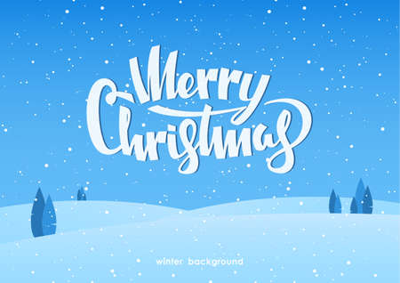 Winter fields landscape with lettering of Merry Christmas