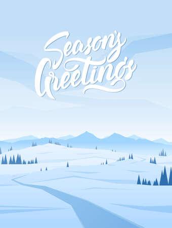 Ilustración de Vertical Snowy Mountains landscape - Imagen libre de derechos