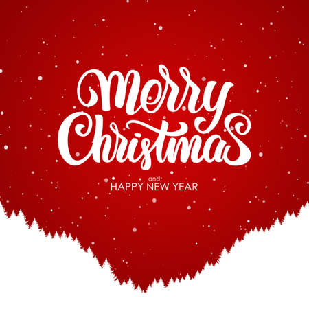 Illustration pour Merry Christmas and Happy New Year. Handwritten lettering with silhouette of forest hillside on red background. - image libre de droit