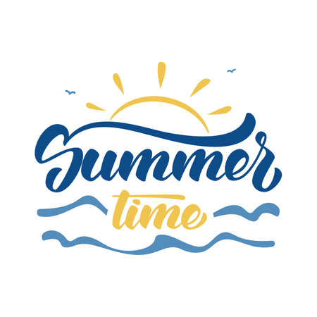 Illustration for Brush lettering composition of Summer Time with sun, waves and birds on white background. - Royalty Free Image