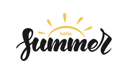 Ilustración de Handwritten lettering quote of Hello Summer with sun on white background. - Imagen libre de derechos