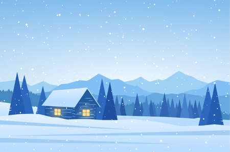 Illustration for Winter Mountains landscape with house on foreground. - Royalty Free Image