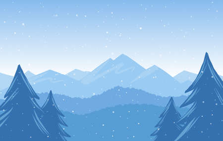 Illustration pour Vector illustration: Winter Hand Drawn Mountains snowy landscape - image libre de droit