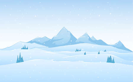 Hand drawn vector winter mountains landscape.