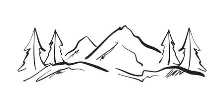 Illustration pour Hand drawn Mountains sketch landscape with hills and pines. - image libre de droit