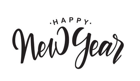Ilustración de Handwritten elegant brush lettering of Happy New Year on white background - Imagen libre de derechos