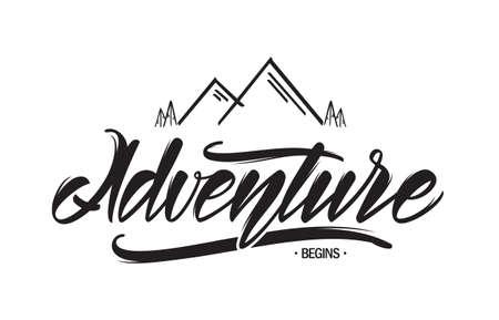 Illustration pour Vector hand drawn emblem with mountains and handwritten lettering of Adventure begins - image libre de droit