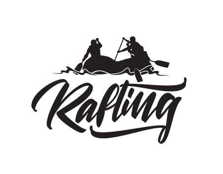 Ilustración de Hand drawn lettering type of Rafting with silhouette of team in boat. Typography emblem design - Imagen libre de derechos