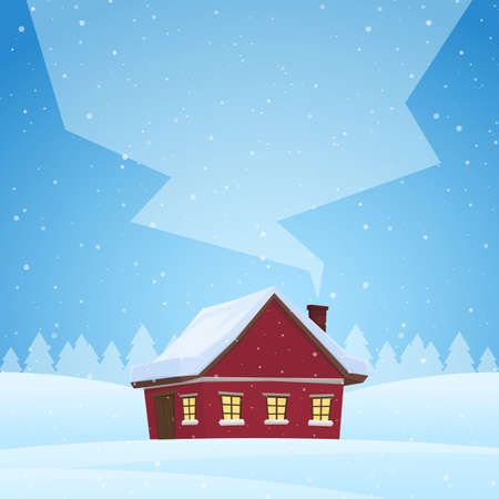 Illustration pour Red cartoon house on snowy winter background with space for text on smoke from the chimney - image libre de droit