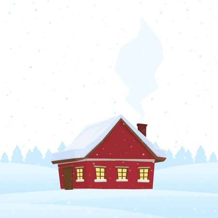 Illustration for Red cartoon house on snowy winter background. - Royalty Free Image