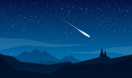 Illustration pour Night mountains landscape with stars and meteor. - image libre de droit