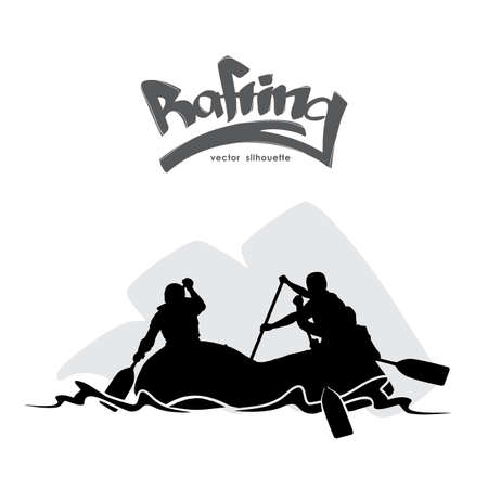 Illustration pour Scene with Silhouette of rafting team on water and hand lettering. - image libre de droit