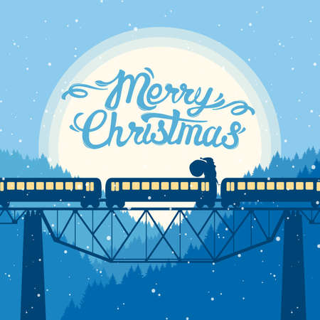 Illustration pour Santa Claus rides on top of the train on the background of the moon. Christmas greeting card with Hand Lettering. - image libre de droit