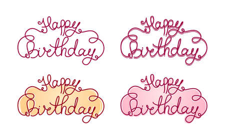 Illustration pour Vector illustration: Hand lettering of Happy Birthday. Calligraphy. Set of inscriptions. - image libre de droit