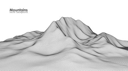 Illustration pour Vector illustration: wireframe mountains landscape. - image libre de droit