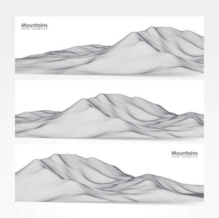 Illustration pour Vector illustration: Set of three banner layout with wireframe mountains landscape - image libre de droit