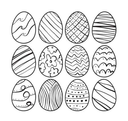 Illustration pour Hand drawn Easter eggs. Sketch line doodle design. - image libre de droit