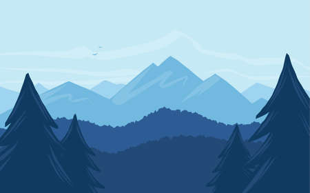 Illustration pour Vector cartoon mountains landscape with silhouette of pines on foreground - image libre de droit