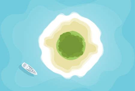 Ilustración de Vector illustration: Top aerial view of tropical island and yacht boat. Summer background. - Imagen libre de derechos