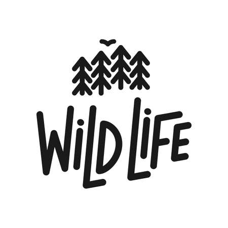 Ilustración de Vector flat illustration: Line typography lettering composition of Wild Life with silhouette of pine forest and bird. - Imagen libre de derechos