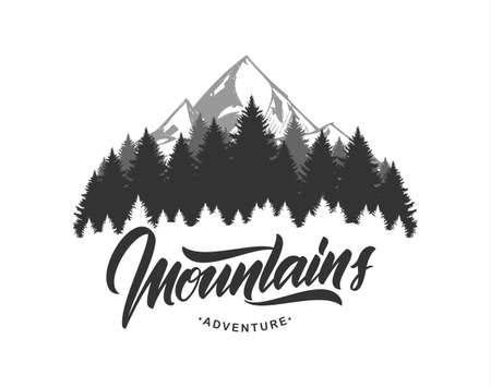 Illustration pour Vector illustration: Mountains emblem with handwritten type lettering. Typography design. - image libre de droit