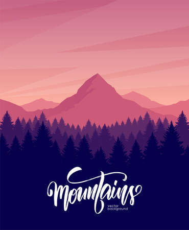 Illustration pour Vector illustration. Mountains dawn landscape with pine forest on foreground. - image libre de droit