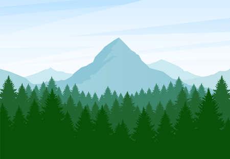 Illustration pour Vector illustration: Flat Summer Mountains landscape with pine forest and hills - image libre de droit
