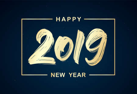 Ilustración de Vector illustration: Handwritten golden brush lettering of 2019 in frame on dark background. Happy New Year - Imagen libre de derechos