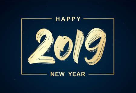 Illustration for Vector illustration: Handwritten golden brush lettering of 2019 in frame on dark background. Happy New Year - Royalty Free Image