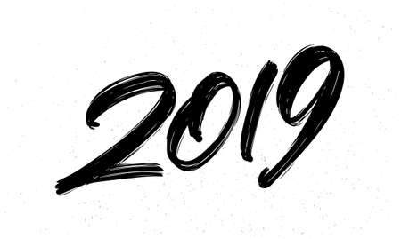 Illustration pour Vector illustration: Hand drawn brush ink lettering of 2019. Happy New Year. Chines calligraphy - image libre de droit