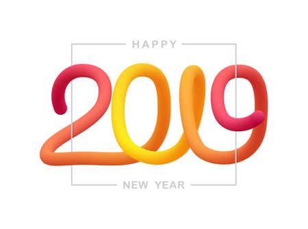 Illustration pour Vector illustration: Greeting liquid typographic composition of Happy New Year 2019. - image libre de droit